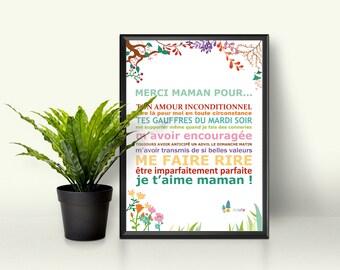 """Affiche - """"Fête des mères"""" - cadeau maman - je t'aime maman"""