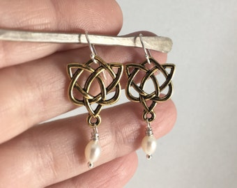 Gold, Silver, & Pearl Celtic Love Knot Earrings Outlander Mother's Knots Christmas Gift Mom Heart Valentine Infinity Eternity Irish Jamie