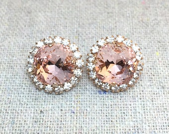 Swarovski Crystal Post Earrings, Blush Pink Cushion Cut, Faux Diamond Pave Halo, Faux Morganite Rose Gold Bridal Jewelry, Bridesmaids Gifts