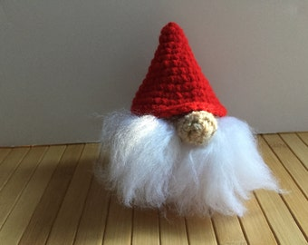 Tomte Doll - Nisse Doll - Amigurumi House Spirit Doll with Ornament Option - Red