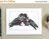 ON SALE Greeting Card - Crow Card - Love Card - Blank Card - Wedding Card - Anniversary Card - Crow Card - Crow Illustration - Two Crows Car