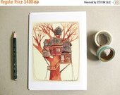 ON SALE New Home Card - New Home Congratulations Card - Tree House Card - Illustrated Tree House Card - Blank Card - Tree House