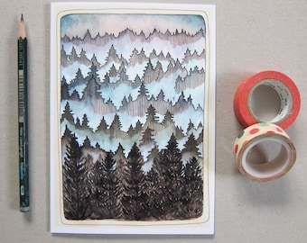 Blank Greeting Card - Forest Card - Pacific Northwest Greeting Card - Tree Card - Forest Illustration Card - Pacific Northwest Woods