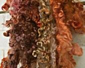 Cotswold Wool Curls - Hand Dyed Fleece - Brown, Orange Gold Locks - Baked Earth