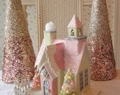 PINK and Green Putz Cottage House w/ Bottle Brush Trees - Lighted