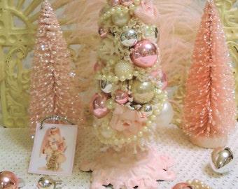 Ivory Bottle Brush Tree - ShABBY PINK - ROSES, Angel, Pearls & Rhinestones
