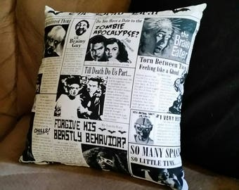 The Dead Beat - 12x12 Pillow - with pillow form - Zippered - Black - White - Horror - Zombie - Newspaper - Monster - Novelty - Accent Pillow