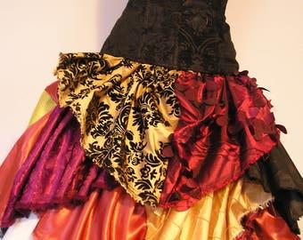 """Patchwork """"Fireball"""" Knee-Length Petal Scrap Skirt"""