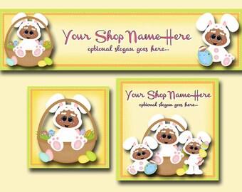 New!  Premade Etsy Cover Photo  - Large Etsy Banner - Etsy Shop Banner - Shop Icon - Gingerbread - Easter Eggs - Easter Basket