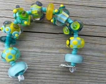 Handmade Lampwork Bead set by JudyDalyReganti -Sunny Skies  Light Turquoise and Yellow Tones Bead Set