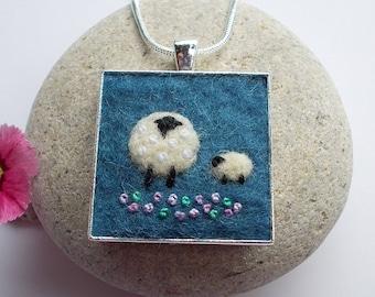Sheep Pendant Necklace Handmade Felt Jewelry