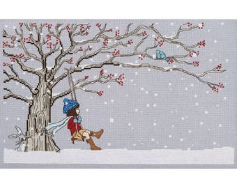 Winter Swing Cross Stitch Pattern Downloadable PDF Christmas Belle and Boo
