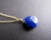 Lapis Pendant Necklace, Briolette Focal Bead, 14K Gold Filled Chain, Navy Blue and Gold