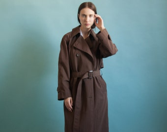 oversized brown trench coat / classic coat / vintage spy trench coat / s / m / 2053o / R4