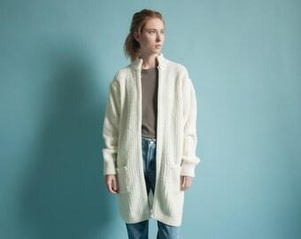 white boucle long cardigan / vtg 80s sweater coat / minimalist long jacket / s / m / 312o / B20