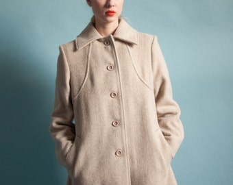 oatmeal tweed wool a line mini coat / mini coat / s / m / 158o / R5