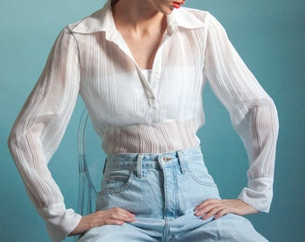 RESERVED. sheer white collared micropleat top / crinkle top / s / m / 1984t / B18