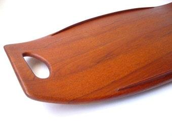 Early Dansk Staved Teak Surfboard Tray by Jens Quistgaard Danish Modern Mid Century