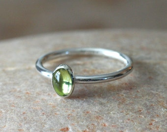 Peridot Stacking Ring 6x4 mm in Sterling Silver, August Birthstone, Green Gemstone, Gift for Her, Size 2 to 15, Birthstone Jewelry, Small