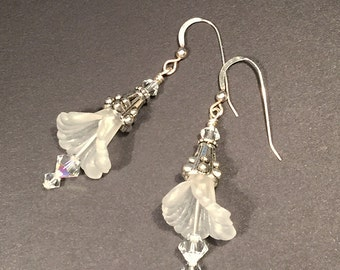 Lily - white flower dangle earrings - glass beaded earrings - teen earrings - bridesmaid gift