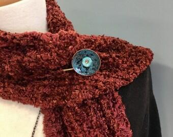 Teal Enameled Scarf Pin, Vintage Brass Shawl Pin, Enameled Sweater Pin, large safety pin