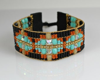 Beaded Boho Bracelet in Black and Turquoise - Loomed Statement Jewelry
