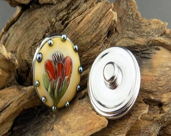 Floral Fantasy Snap Button Ivory Red Mix Silvered Glass