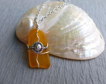 Handmade seaglass yellow with sun wire wrapped stainless chain