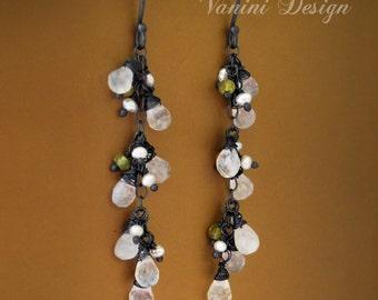 Rainbow moonstone Earrings, Cascade Earrings, Romantic Long Gemstone Earrings, Sterling Silver Jewelry, Oxidised Silver Jewelry