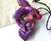 Purple Dragon Needle Minder, Handcrafted from Claybykim Needle Nanny, Magnetic Brooch, Dragon Jewelry