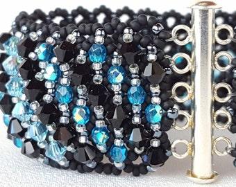 Midnight Blue Beadwoven Cuff Bracelet