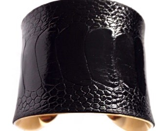 Black Ostrich Leather Cuff Bracelet - by UNEARTHED