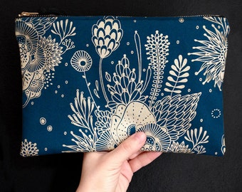 Canvas Zipper Pouch - screen printed with metallic gold ink on blue canvas fabric