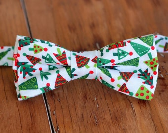 Boys Christmas Tree Bow Tie - boys Christmas red green bowtie - bow tie for baby infant toddler child preteen boy - holiday bow tie - gift