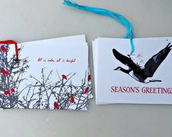 HOLIDAY Gift Tags set of 8 birds, goose, Christmas, New Year, Nature