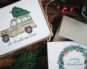 Boxed Set of Christmas Greeting Cards, 6 Cards + Envelopes
