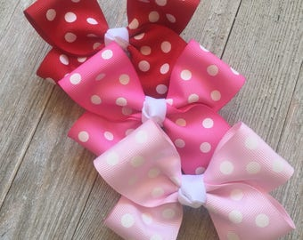 Set of 3 Large Polka Dot Hair Bows,French Barrettes,Polka Dots,4.5 Inches Wide,Birthday Party Favors,Ready to Ship