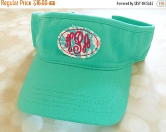 ON SALE Visor with oval raggy patch monogram - great team and club gift - custom made to order visors - beach, pool, lake, river sun protect