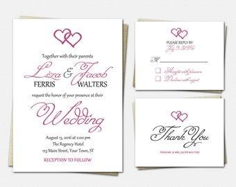 Wedding Invitation Suite - Two Hearts - Wedding Invitations - RSVP - Thank You - Wedding Invitation Set
