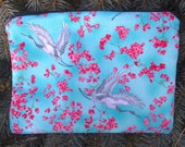 Japanese zip bag, makeup case, accessory bag, zippered pouch, zippered bag, Cranes and Cherry Blossoms, The Scooter