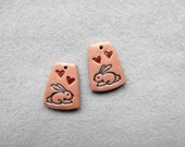 Earring Components/Charms/Rabbit Beads - Love Bunnies