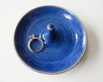 Royal Blue Ring Holder, Indigo Ring dish, Wheel Thrown, Clay Pottery
