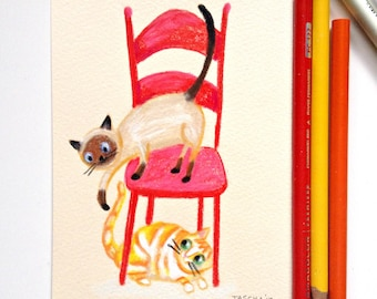 Siamese Cat Orange Cat original drawing the TAIL GAME one of a kind hand drawn illustration cat folk art sketch by tascha
