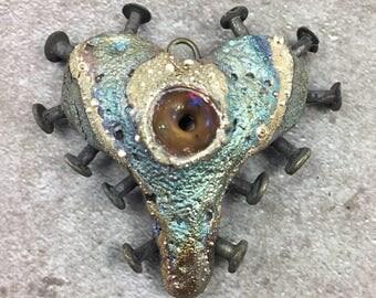 Nailed Raku Ceramic Heart Pendant Jewelry Handmade Gifts         by MAKUstudio