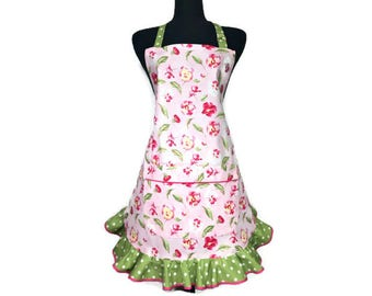 Pink Floral Apron for women , Sweet Peas with a green ruffle , Retro style flower apron / Kitchen decor