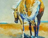 "Original Palomino Horse Oil Painting 10""X10"" by Sandra Spencer"