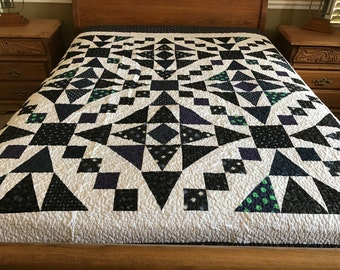 Over King  patchwork machine pieced and quilted Quilt