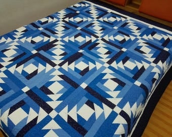Queen size Machine quilted Log Cabin Patchwork complete   Quilt
