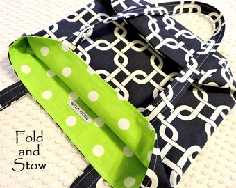 Large Fabric Market Tote Bag Carry All, Eco Friendly Cotton Fold and Stow Market Bag, Top Handles Library Tote in Navy Blue and Lime Green