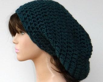 Slouchy beanie hat, deep Prussia teal, Slouchy Beanie, woman beanie, womens alpaca blend chunky slouch beanie, slouchy hat, winter hat, warm